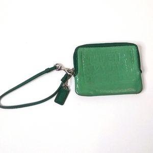 Coach Teal Green Leather Poppy Wristlet Wallet